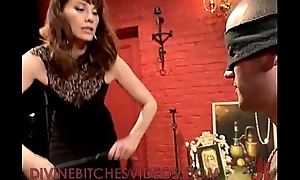 Affianced guy receives femdom cbt and whipping and strapon cock fucking