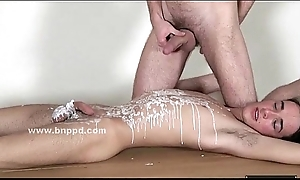 Boy bound in ropes upstairs a table fucked