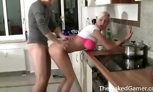 Sexy Blonde Copulates BF in Kitchenette - TheNakedGamer.com