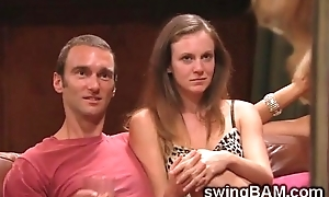 Beautiful babes and their men go unpropitious round debauched swingers party