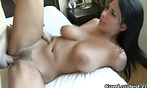 Busty brunette whore goes crazy engulfing