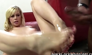 Black cock slut footjob cumshot
