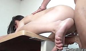 Despondent brunette girl gets her wet pussy