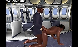On an airplane those two ebony guys fuck