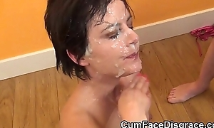 Petite mature sucks cocks at bukkake party