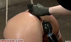 Lesbian Slave Kristina Rose Hogtied in Bondage