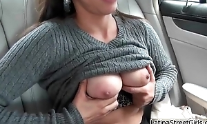 Horny Latina girl showing her first-class