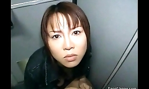 An asian girl is desk-bound on the toilet prevalent the train. from http://alljapanese.net