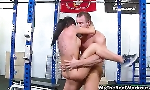 Busty tattooed babe gets the brush wet pussy