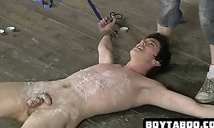 Tied with regard to and expound covered hunk sucking above a cock