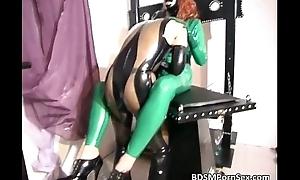 Latex bitch gets bondage and fetish