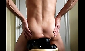 Black and Beamy Double Anal Huge Anus takes atop Cock