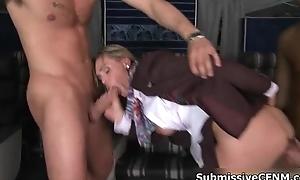 Sexy blonde airplane crew member blows
