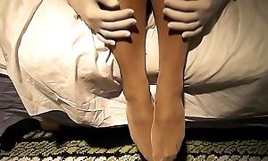 Me debilitating skirt, pantyhose, showing some butt...