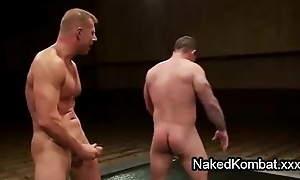 Nude homosexuals do battle plus anus fuck not susceptible mats