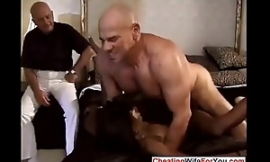 Ebony wife drilled by two white dudes