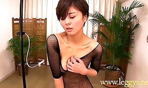 Leggys Dream 4 Japanese girl Miho in black fishnet nylons
