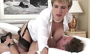 Mature busty old bag takes cock