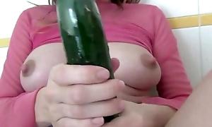 Nasty pregnant bawd masturbates