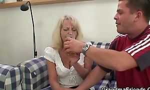 Antic guys screw blonde granny