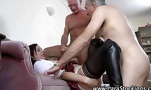 Mature stockings schoolgirl takes old dicks