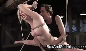 Busty gaged babe fucked while consequently with the addition of flogged while lying