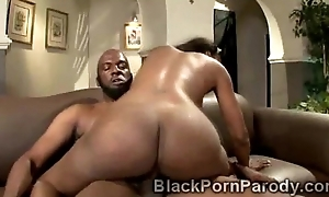 Curvylicious ebony gets smashed savagely in black porn parody