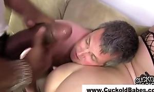 Sub watches cuckold interracial fuck
