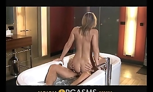 ORGASMS Sexy blonde has sexual intercourse in bathroom