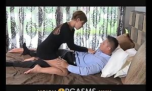 ORGASMS Hot sexy mom makes him cum hard