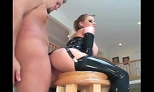Secretorgasms.com - Busty milf fucking in latex stockings and a corset