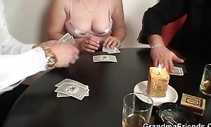 Granny loses beside strip poker