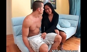 Asian MILF gets her wringing wet pussy fucked