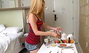 Cute petite teen goes down