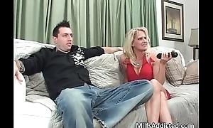 Big tit blonde MILF fills her mouth