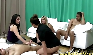 Cfnm femdoms jerk victim cock as their way friends watch