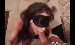 Blindfolded brunette slut got her pussy