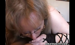 Shove around amateur wife tugjob and blowjob with cum respecting mouth
