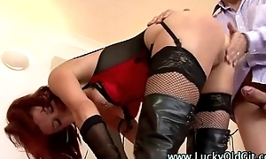 Older British guy bonks a mature lady in stockings