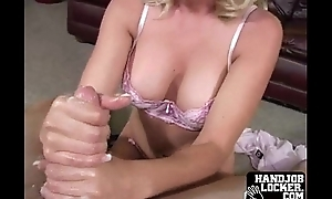 Blonde unladylike gets naked  and handles dick