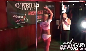 Sexy order of the day cuties strip in the buff in public on stage!