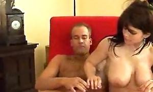 Hawt busty brunette gets tittyfucked