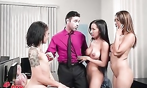 Charles is lucky to make the beast with two backs four gorgeous babes in the office