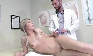 Young blonde girl seduces doctor encircling hardcore sexual connection and blowjob