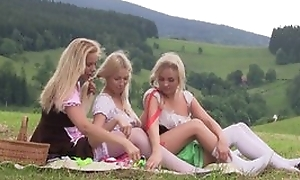 Scrupulous crafty lesbian experience between three teen girls having tons of fun together outdoor at picnic, licking pussies, using sex toys, bellyache from appreciation