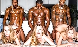 A handful of stunning blonde gentlemen servicing muscled diabolical dudes