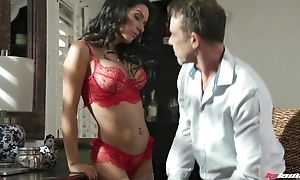 Exotic brunette with fake boobs sucks strip of hard knobs to hand once