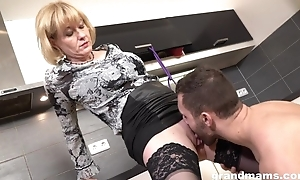 Cock-loving girl approximately juicy melons team-fucked in the kitchen