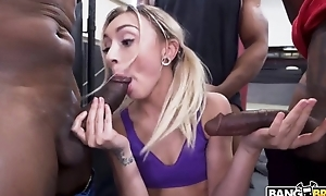 Pretty light-complexioned girl with pigtails serves 3 horny black guys
