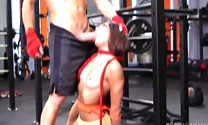 Two cock-craving bitches get drilled hard nearly the gym